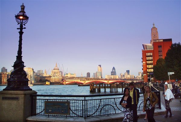 photo of the City of London taken from the south bank of the Thames