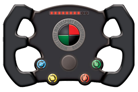 A business card in the shape of a Formula 1 steering wheel for a motorsport development fund