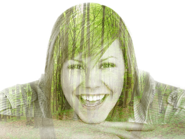 forest inside a woman's face