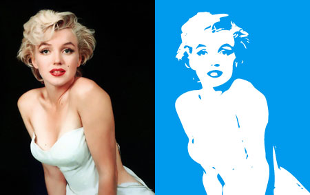 Marilyn Monroe photo and illustration