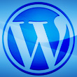 Wordpress icon on blue background in a square